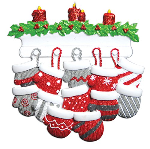 PERSONALIZED CHRISTMAS ORNAMENTS FAMILY KIT- MITTEN FAMILY OF 12 KIT - Family Mitten