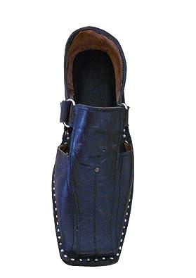 Kalra creaciones Hombres de piel de tradicional de la India étnicos sandalias, color Negro, talla 41.5 EU