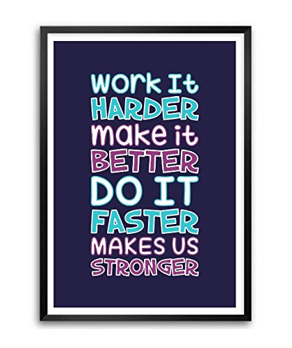 4 Work It Harder Make It Better Motivational Quote Wall Decor Framed Poster