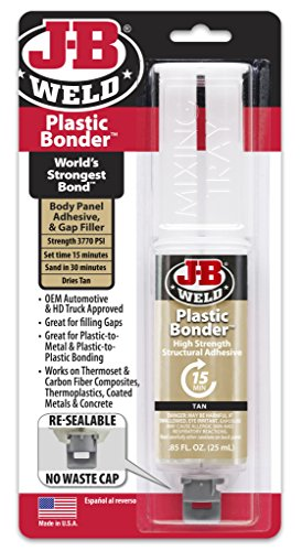 Hard Plastic Repair - J-B Weld 50133 Plastic Bonder Structural Adhesive Syringe - Dries Tan - 25 ml