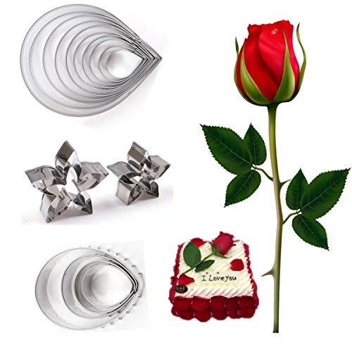 18Pcs Austin Rose Cutter Set, Rose Petal Cutter Set Calyx Cutter Fondant Decor Kit leaf Cutter Modelling Tools Gum Paste Fondant Cake Cutters
