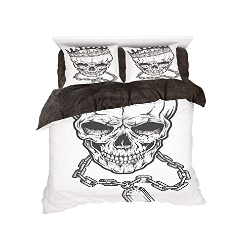 All Season Flannel Bedding Duvet Covers Sets for Girl Boy Kids 4-Piece Full for bed width 4ft Pattern by,King,Sketchy Skull with Crown Hip Hop Street Style Necklace Chain Gem Image Print Decorative,Bl