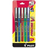 Pilot Precise V5 Stick Rolling Ball Pens, Extra Fine Point, 5-Pack, Black/Blue/Red/Green/Purple Inks (26013)