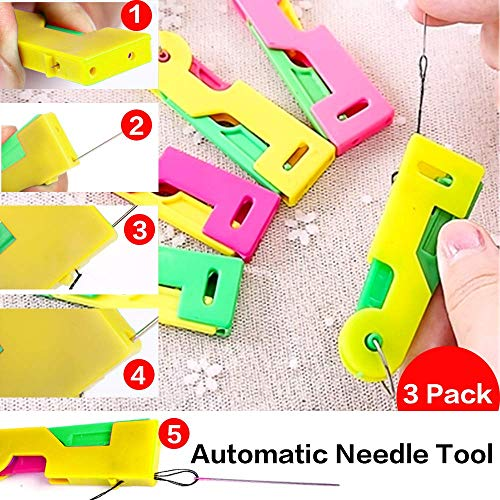 Kriszon Automatic Needle Threading Device, Self Threading Hand Needles - Easy Use & Carry, Needle Threading Tool eedle Device with Threader Needle Devices - Fit for Adult,Old,Kids by Yoruii 3pack