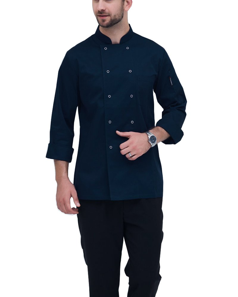 Boupiun Chef Coat Men's Long Sleeves Unisex Chef Jacket Uniform