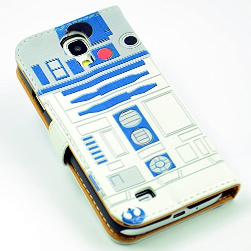 Funny R2D2 Robot Pattern Slim Wallet Card Flip Stand Leather Pouch Case Cover For Samsung Galaxy S IV S4