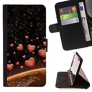 For Samsung ALPHA G850,S-type Amor Corazones espaciales- Dibujo PU billetera de cuero Funda Case Caso de la piel de la bolsa protectora