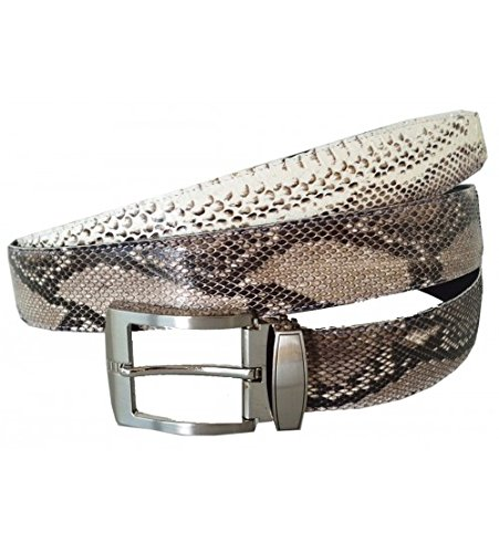 Authentic Snake Skin Men's Genuine Python Leather Pin Belt 38-40 Natural (Leather Snake Genuine Belt)