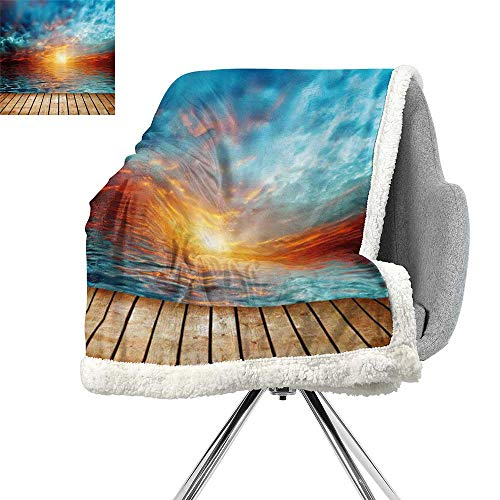 Ocean Lightweight Fluffy Flannel and Sherpa Blanket,Dramatic Sunset Over The Sea Twilight Scenery Beach Skyline Coast Photo,Aqua Orange Light Brown,Print Summer Quilt Comforter W59xL31.5 Inch