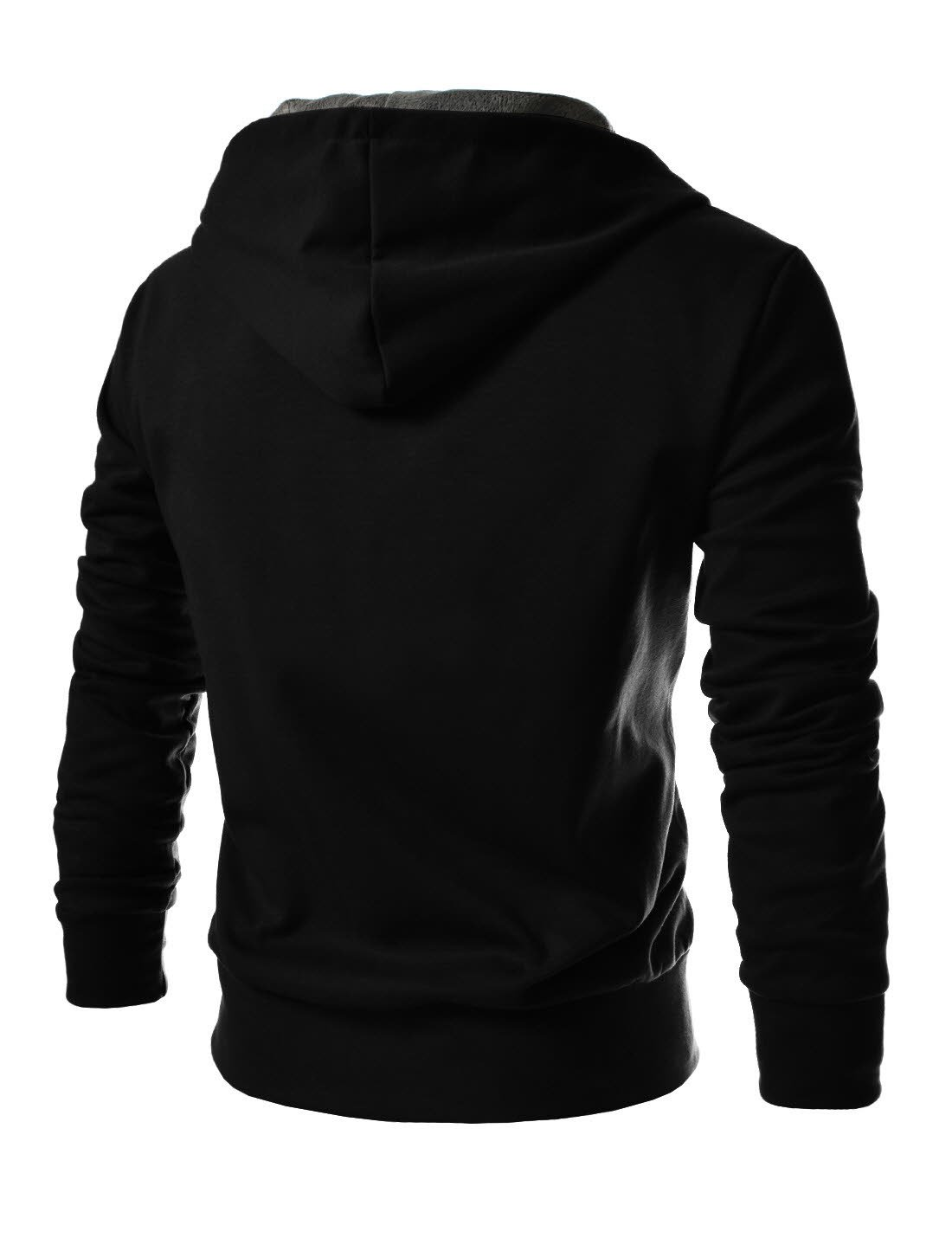 TheLees (R4BH) Mens Casual Luxury Buckle Hoodie Slim Cotton Sweatshirts BLACK US XS(Tag size M) by TheLees (Image #3)