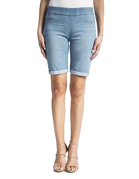 Liverpool Women's Sienna Pull on Rolled Cuff Bermuda in Silky Soft Denim