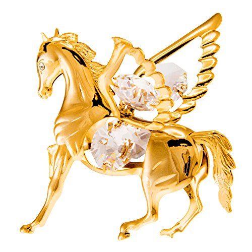 Pegasus 24k Gold Plated Metal Ornament with Spectra Crystals by Swarovski