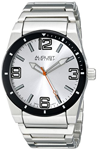 August Steiner Men's AS8152SSW Silver Swiss Quartz Watch with Silver Dial and Silver Bracelet