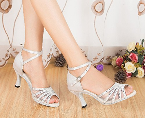 Toe Prom Latin Evening Wrap Satin Wedding Women's TDA Peep Ankle Shoes Silver Mesh Rhinestone Salsa REvvwq1