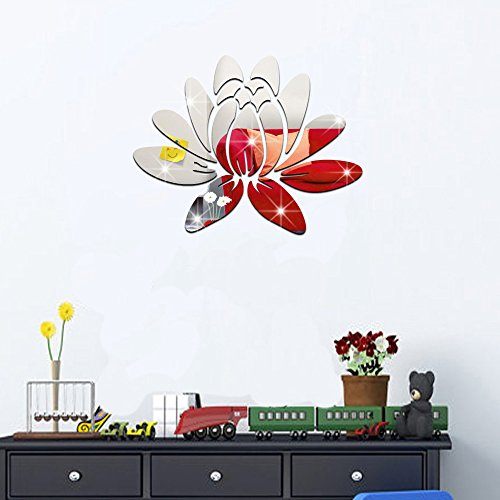 ufengke 3D Lotus Flower Mirror Effect Wall Stickers Fashion Design Art Decals Home