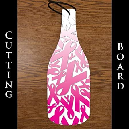 Wine Bottle Shaped Glass Cutting Board Pink Ribbon Collage 45 X