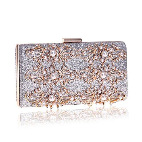 Silver Purse Evening JESSIEKERVIN Banquet Diamond Clutch Bag Crossbody Shoulder Bag Ladies qUwB4Sq