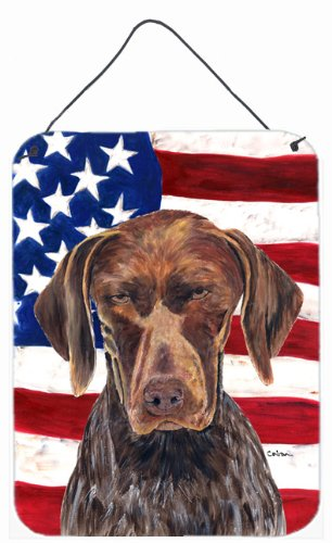 Caroline's Treasures Usa American Flag with German Shorthaired Pointer Wall or Door Hanging Prints, 16