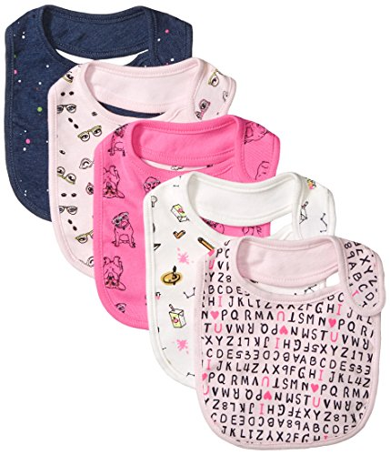 Pnks Costumes (Rosie Pope Baby Girl's 5 Pack Bibs Baby Costume, School/Glasses, One Size)