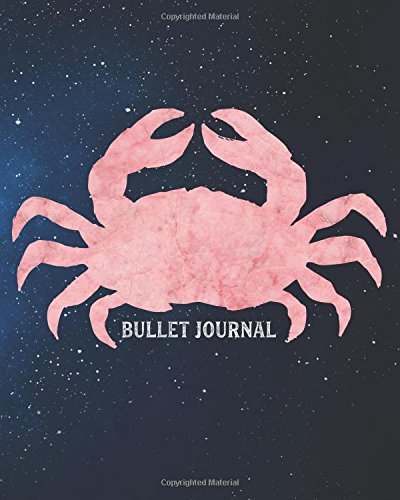 Bullet Journal: Pink Marble Galaxy Blank 8x10 Dot Grid Softcover Notebook, 160 pages, with Vintage Space Astronomy Cancer Crab Animal Zodiac - Ceiling Bullet