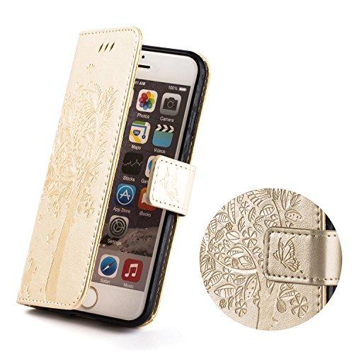 Cover Custodia per iPhone 6s iPhone 6 ZPTONE PU Portafoglio Custodia Cover Protettiva in Pelle Libro per iPhone 6 6s Chiusura Magnetica Stand Case Sbalzato Albero - Oro