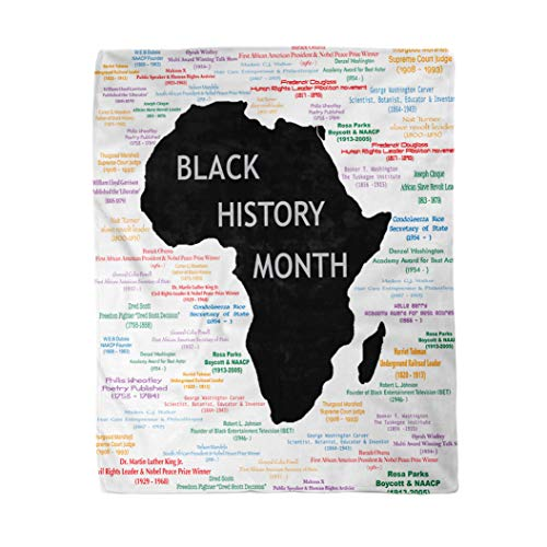 rouihot 50x60 Inches Throw Blanket Raster for Black History Month Including Names Time Periods Warm Cozy Print Flannel Home Decor Comfortable Blanket for Couch Sofa Bed