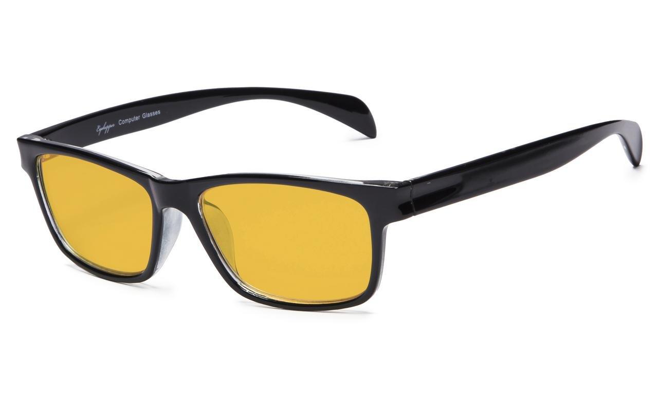 Black-Transparent, 1.25 Eyekepper Memory Flex Frame Amber Tinted Lens Reading Glasses with 80/% Blue Blocking Visible Coating
