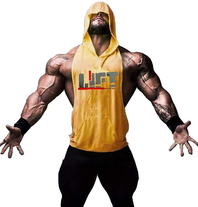 COWBI Camiseta Tirantes con Capucha Hombre Culturismo Fitness Deportiva Ropa