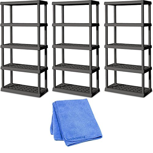 Sterilite 01553V01 5 Shelf Unit, Flat Gray Shelves & Legs, 3-Pack with Dusting Cloth by STÈRILITE