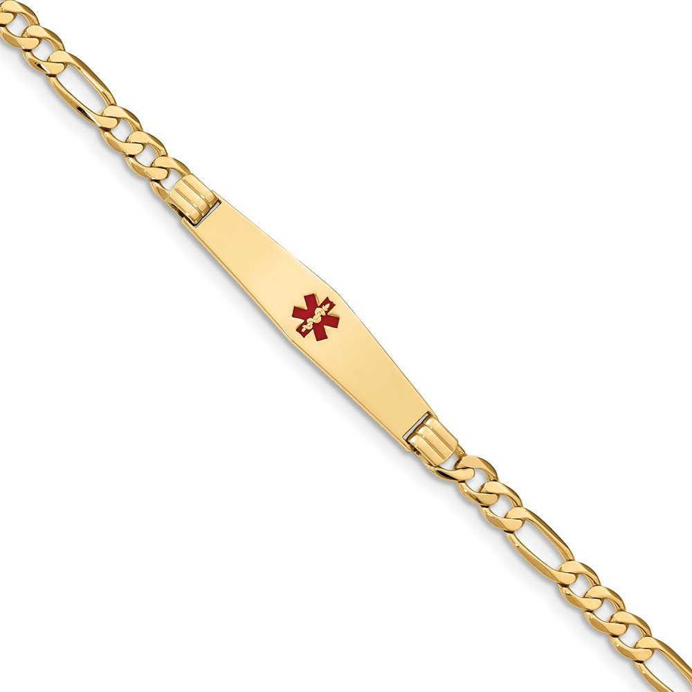 Top 10 Jewelry Gift 14K Medical Soft Diamond Shape Red Enamel Flat Figaro Link ID Bracelet