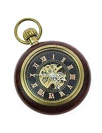 Itemstoday Vintage Copper Wood Mechanical Hand-Winding Grandpa Pocket Watch for Men's