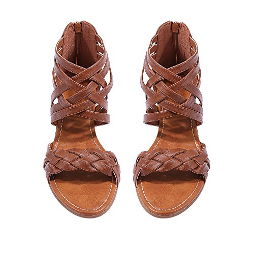 Leather Heel Thongs Sandals Wedge (Womens Braided Strappy Wedge Gladiator Criss Cross Ankle Wrap Low Heel Sandals)