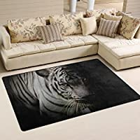 LORVIES White Tiger Isolated On Black Background Area Rug Carpet Non-Slip Floor Mat Doormats for Living Room Bedroom 60 x 39 inches