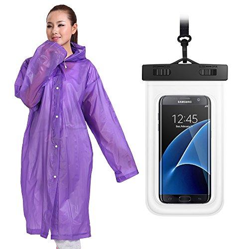 Unisex Rainwear (Rain Poncho&Waterproof Cellphone Case, Raincoat for men women Reusable Unisex Adult Rainwear with Hoods, Long Sleeves, Drawstring, Durable EVA)