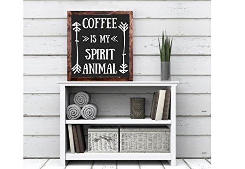 Coffee is my spirit animal wood sign home decor rustic distressed Coffee Lovers sign gift wall coffee bar decor kitchen gift (Cream Coffee Bar)