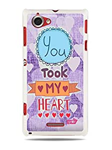 GRÜV Premium Case - 'You Took My Heart Purple Pink Love' Design - Best Quality Designer Print on White Hard Cover - for Sony Xperia L S36H C2104 C2105