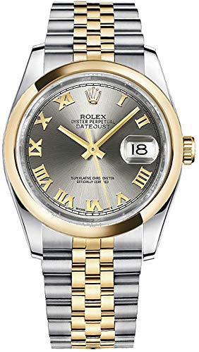 (Rolex Datejust 36 Solid 18k Yellow Gold and Steel Roman Numeral Dial Watch Ref. 116203)