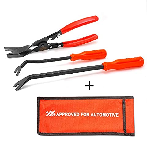 AFA [3 Pcs] Clip Plier Set & Fastener Remover - The Most Essential Combo Repair Kit (Trim Pad Removal Tool)