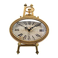 NIKKY HOME Vintage Pewter Oval Table Clock with Easel, 6.5 by 9-Inch, Gold