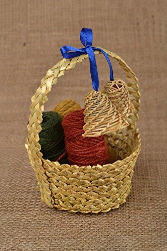 Beautiful Small Handmade Decorative Woven Straw Basket With Bells (Straw Basket Making)