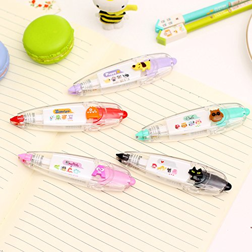 Katoot@ 5pcs Cute Correction tape Push type lace cartoon animal decoration tape Stationery Office school supplies zakka