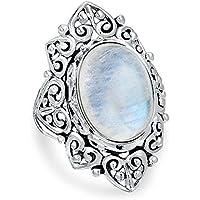 Promsup Women 925 Silver Filigree Rainbow Moonstone Heart Statement Ring Wedding Sz 6-10 (10)
