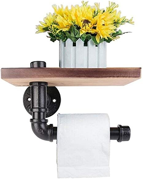 Delong Industrial Toilet Paper Holder with Wooden Shelf Metal Wall Mounted Storage Iron Pipe Tissue Roll Hanger