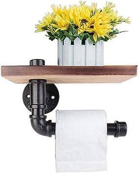 Ca Diy Dekorative Wandregal Einheit Industrie Rohr Eisen Wand Toilettenpapierhalter Mit Holzregal Für Badezimmer Dekoration
