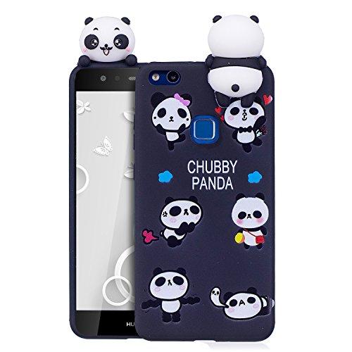 Funda Huawei P10 Lite, CaseLover 3D Panda Suave TPU Silicona Carcasa para Huawei P10 Lite Ultra Delgado Flexible Protectora Caso Mate Opaco Gel Goma Parachoques Tapa Anti Choque Trasera Cubierta (5.2  Negro 2