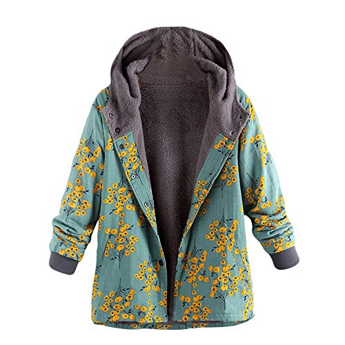 HHei_K Womens Floral Print Long Sleeve Pockets Thickening Hooded Coat Arctic Velvet Vintage Oversized Outerwear
