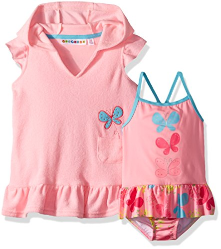 Butterfly Cotton Up Cover - Wippette Girls' Toddler Coverup Set with Butterflies, Cotton Candy, 2T