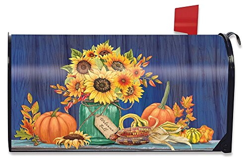 (Briarwood Lane Fall Mason Jar Sunflowers Magnetic Mailbox Cover Pumpkins Autumn Standard)