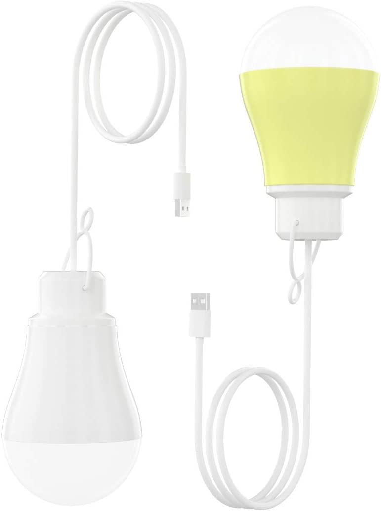 Gofort 2 Pack USB LED Bulb for Camping, Fishing, 5 Watts USB Plug Portable Light for Indoor/Outdoor Emergencies, White Light