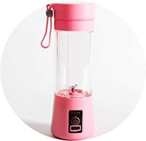 Portable Size USB Electric Fruit Juicer Handheld Smoothie Maker Blender Stirring Rechargeable Mini Portable Juice Cup Water,pink